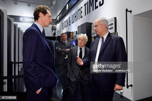 John Elkann Paolo Garimberti and Walter Veltroni during the Juventus 120 Years Exhibition Opening at Juventus Museum on November 9 2017 in Turin Italy