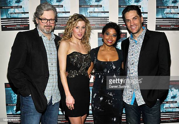 John Ellison Conlee Caissie Levy Rebecca Naomi Jones and Will Swenson attend the 'Murder Ballad' Opening Night at Union Square Theatre on May 22 2013...