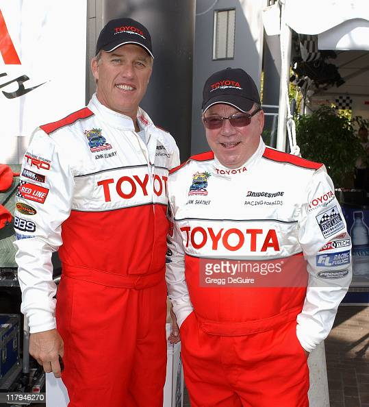John Elway and William Shatner during 30th Anniversary Toyota Pro/Celebrity Race Qualifying Day at Long Beach Streets in Long Beach California United...