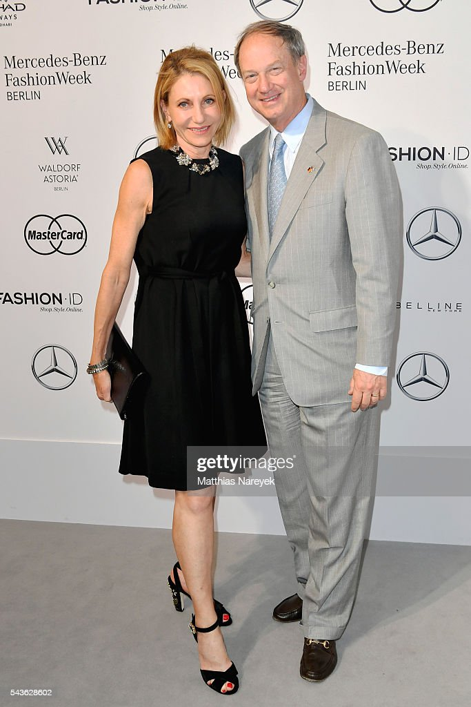 John Emerson and Kimberly Emerson attend the Guido Maria Kretschmer show during the Mercedes-Benz Fashion Week Berlin Spring/Summer 2017 at Erika Hess Eisstadion on June 29, 2016 in Berlin, Germany.