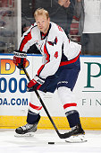 John Erskine of the Washington Capital skates prior to the game against the Florida Panthers at the BBT Center on February 27 2014 in Sunrise Florida...