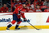 John Erskine of the Washington Capitals in action in the first period during an NHL game against the New Jersey Devils at Verizon Center on December...