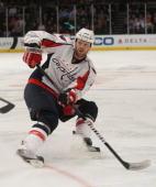 John Erskine of the Washington Capitals skates against the New York Rangers at Madison Square Garden on November 17 2009 in New York New York
