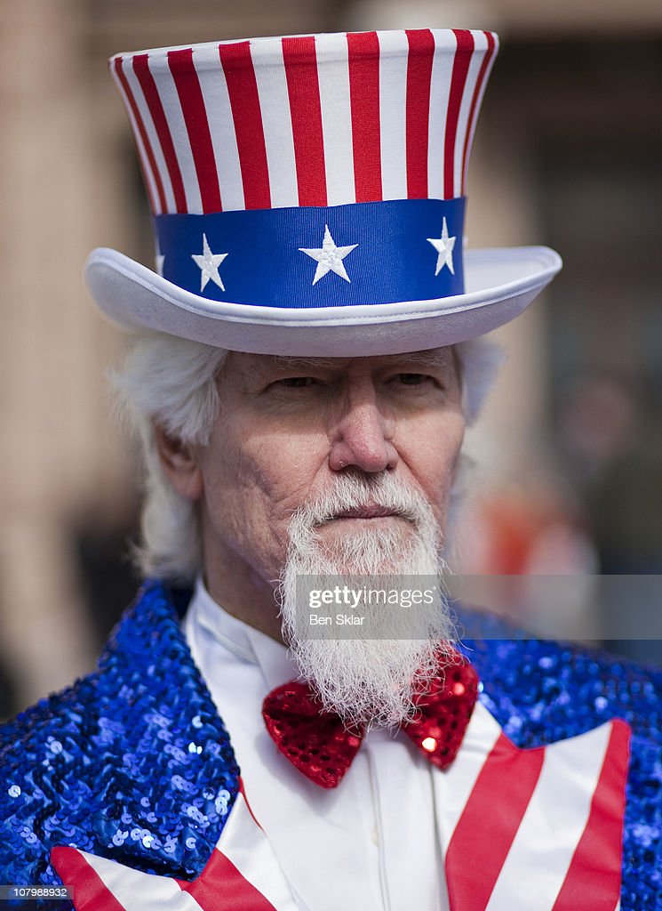 John Evans dressed as Uncle Sam joins Tea Party groups convened at a rally at the Texas state capitol during the first day of the 82nd Legislative...