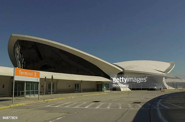 John F Kennedy International Airport's famed Terminal 5 designed by Eero Saarinen is pictured on October 1 2004 An exhibition titled 'Terminal 5'...