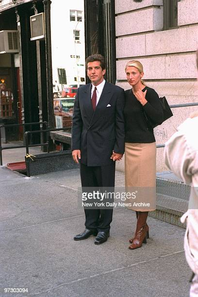 John F Kennedy Jr and bride Carolyn Bessette Kennedy leave Manhattan apartment in TriBeCa