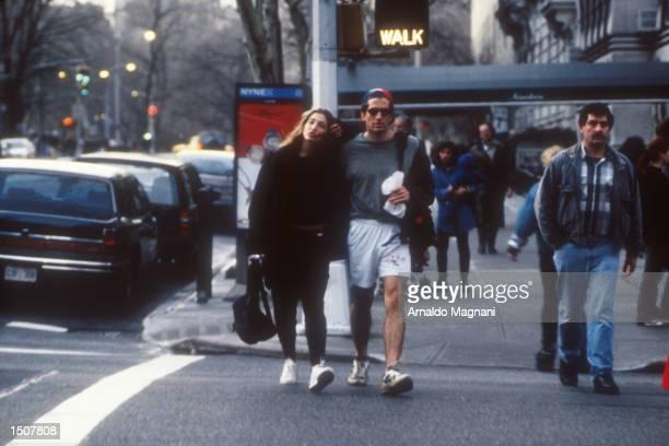 John F Kennedy Jr and Caroline Bessette walking on the streets of NYC New York September 20 1996