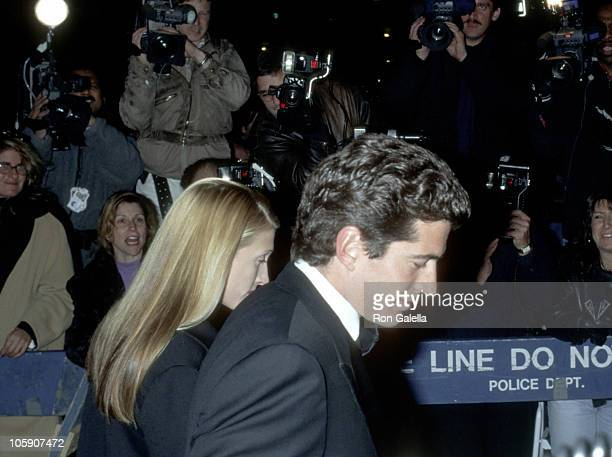 John F Kennedy Jr and Carolyn Bessette during 30th Anniversary of the Whitney Museum of American Art at The Whitney Museum of American Art in New...