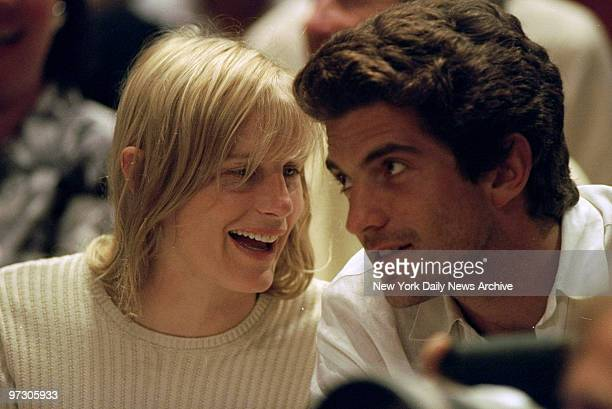 John F Kennedy Jr and girlfriend Darryl Hannah watch game between the New York Knicks and the Houston Rockets at Madison Square Garden