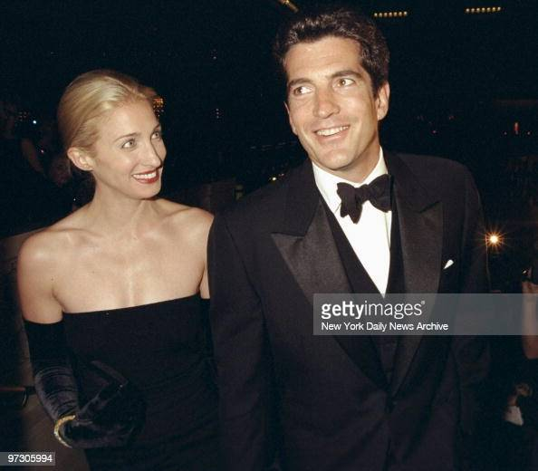 John F Kennedy Jr and his wife Carolyn Bessette Kennedy are on hand at the Municipal Art Society gala at Grand Central Terminal They turned out to...