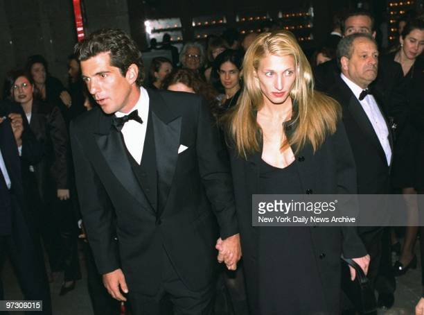 John F Kennedy Jr and his wife Carolyn Bessette Kennedy arrive for reception at the Whitney Museum