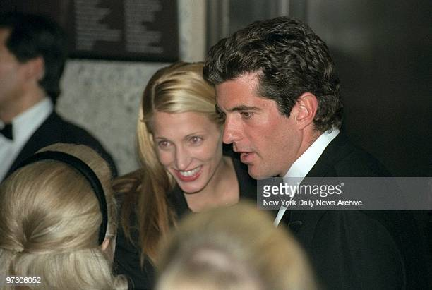 John F Kennedy Jr and wife Carolyn Bessette Kennedy attend a reception at the Whitney Museum