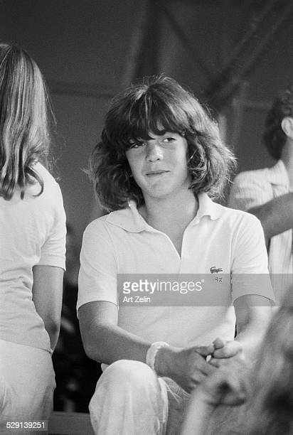 John F Kennedy Jr at a tennis match circa 1970 New York