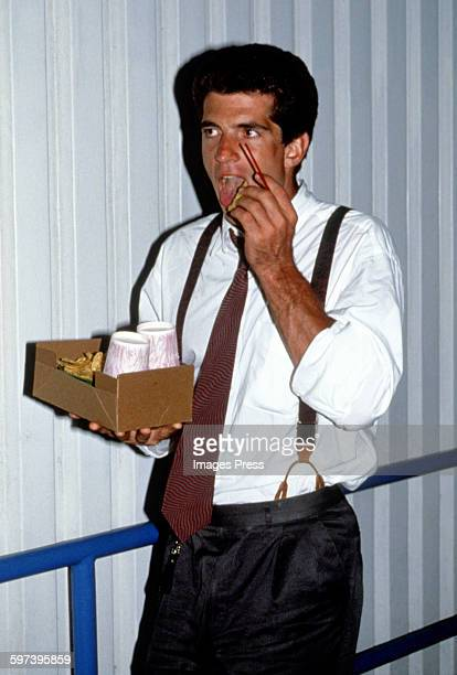 John F Kennedy Jr attends the US Open Tennis Tournament circa 1991 in Flushing Queens