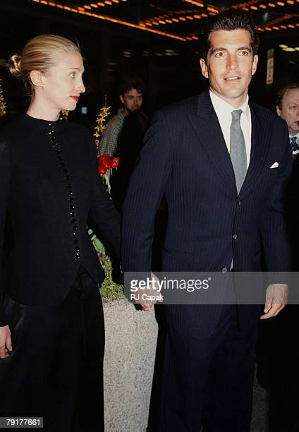 John F Kennedy Jr Carolyn Bessette attend a Fundraising Dinner Benefit Riverkeeper World Trade Center New York City NY 2nd April 1998