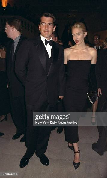 John F Kennedy Jr with his wife Carolyn Bessette Kennedy attending Municipal Art Society gala at Grand Central Terminal