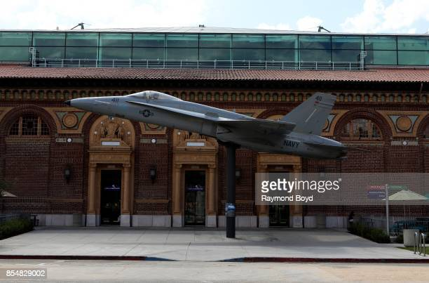John F Kennedy Navy plane sits outside The California Science Center in Los Angeles California on September 11 2017