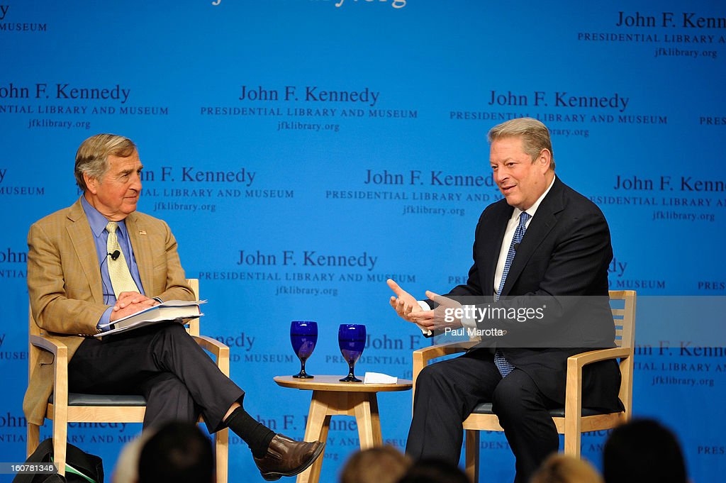 John F. Kennedy Presidential Library Forums Presents: A Conversation With Al Gore, discussing his new book 'The Future' with Harvard professor Graham Allison at The John F. Kennedy Presidential Library And Museum on February 6, 2013 in Boston, Massachusetts.