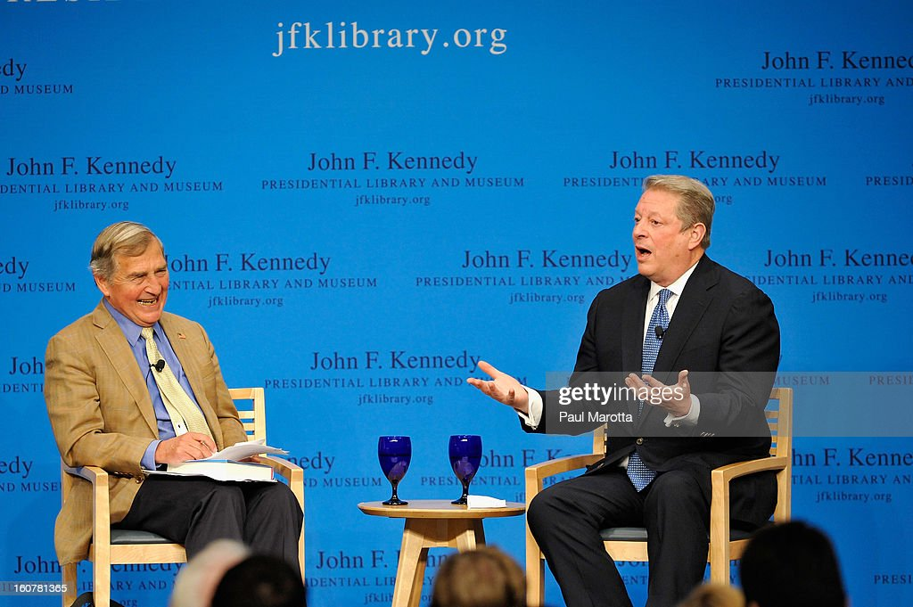 John F. Kennedy Presidential Library Forums Presents: A Conversation With <a gi-track='captionPersonalityLinkClicked' href=/galleries/search?phrase=Al+Gore&family=editorial&specificpeople=119691 ng-click='$event.stopPropagation()'>Al Gore</a>, discussing his new book 'The Future' with Harvard professor Graham Allison at The John F. Kennedy Presidential Library And Museum on February 6, 2013 in Boston, Massachusetts.