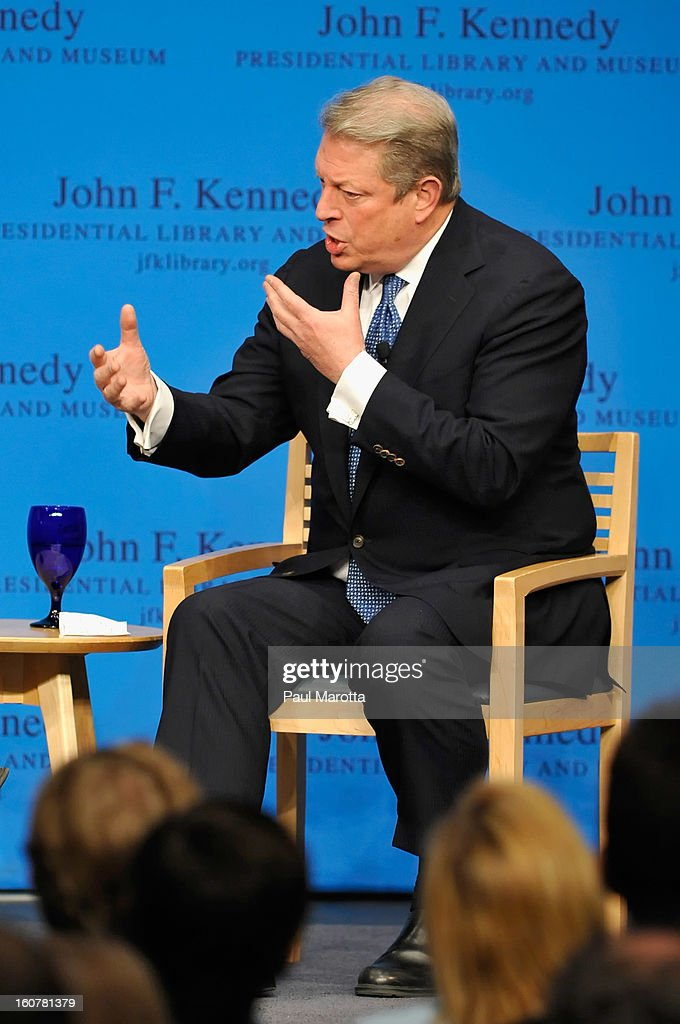 John F. Kennedy Presidential Library Forums Presents: A Conversation With <a gi-track='captionPersonalityLinkClicked' href=/galleries/search?phrase=Al+Gore&family=editorial&specificpeople=119691 ng-click='$event.stopPropagation()'>Al Gore</a>, discussing his new book 'The Future' at The John F. Kennedy Presidential Library And Museum on February 6, 2013 in Boston, Massachusetts.
