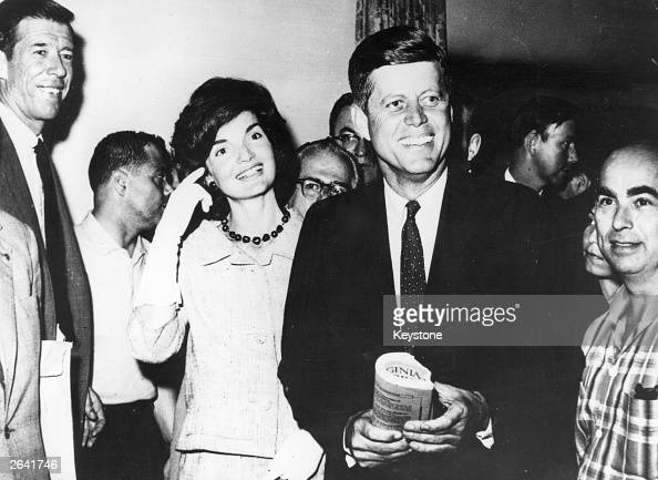John F Kennedy Senator for Massachusetts with his wife Jacqueline about to leave New York for the Los Angeles Democratic Party Convention at which...