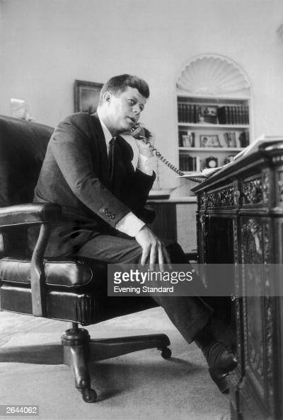 John F Kennedy the 35th president of the United States making a telephone call