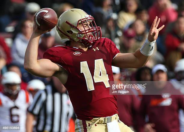John Fadule of the Boston College Eagles throws against the Virginia Tech Hokies in the second half at Alumni Stadium on October 31 2015 in Chestnut...