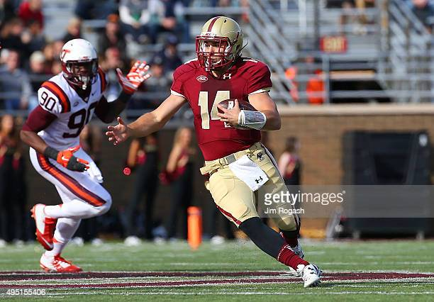 John Fadule of the Boston College runs the ball against the Virginia Tech Hokies in the first half at Alumni Stadium on October 31 2015 in Chestnut...