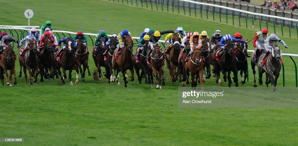 John Fahy riding Prince of Johanne win The Betfred Cambridgeshire at Newmarket racecourse on September 24 2011 in Newmarket England