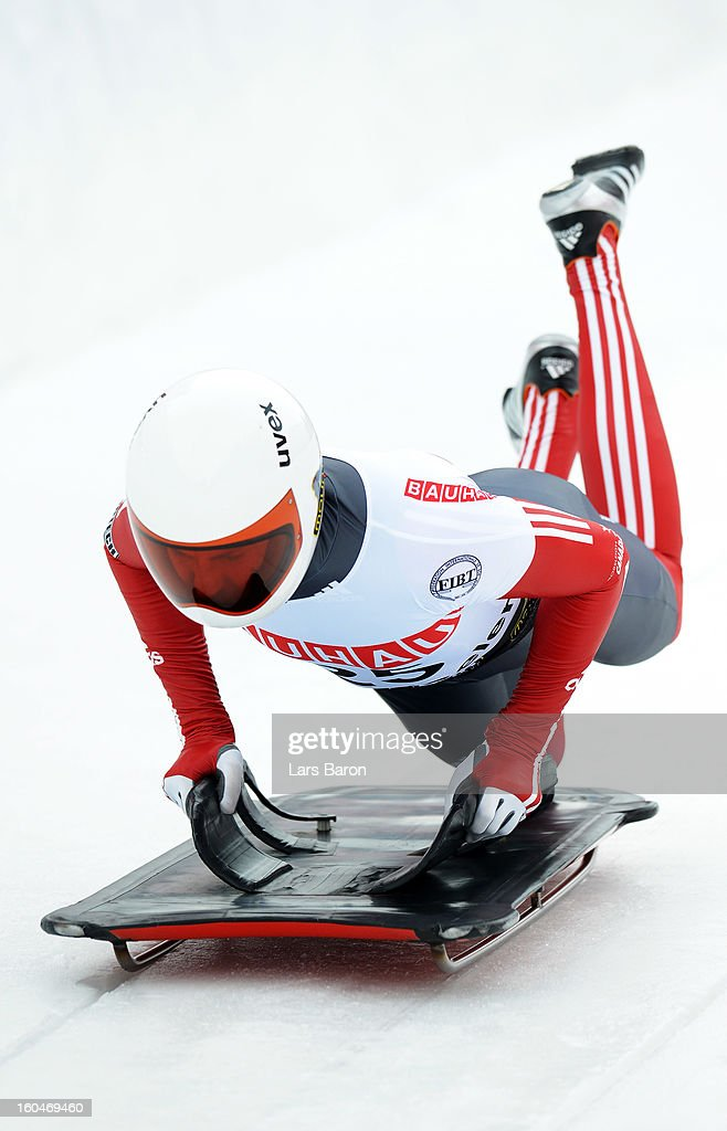 John Fairbairn of Canada competes during the man's skeleton first heat of the IBSF Bob & Skeleton World Championship at Olympia Bob Run on February 1, 2013 in St Moritz, Switzerland.