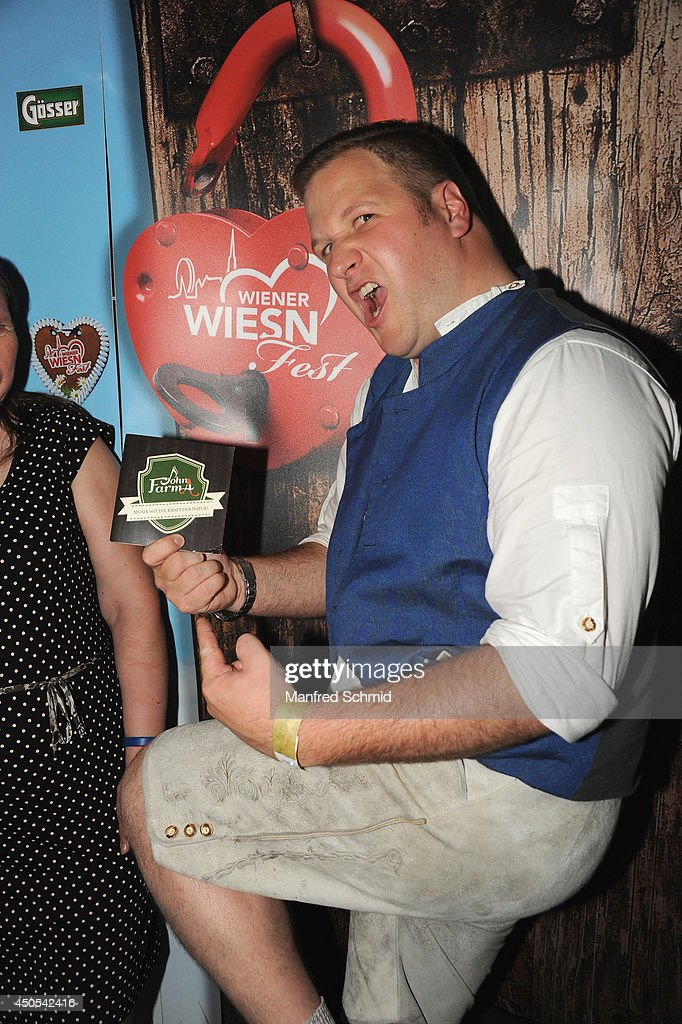 John Farma poses for a photograph during the beauty competition 'Miss Wiener Wiesn-Fest 2014' at Platzhirsch on on June 12, 2014 in Vienna, Austria.