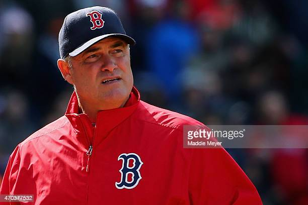 John Farrell manager of the Boston Red Sox looks on during the fifth inning against the Baltimore Orioles at Fenway Park on April 19 2015 in Boston...