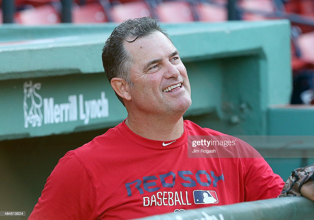 <a gi-track='captionPersonalityLinkClicked' href=/galleries/search?phrase=John+Farrell+-+Baseball+Manager&family=editorial&specificpeople=10307520 ng-click='$event.stopPropagation()'>John Farrell</a> #53 of the Boston Red Sox makes a visit to the dugout before a game against the Cleveland Indians at Fenway Park on August 19, 2015 in Boston, Massachusetts. Last week, Farrell relinquished his duties as manager to undergo treatment for lymphoma.
