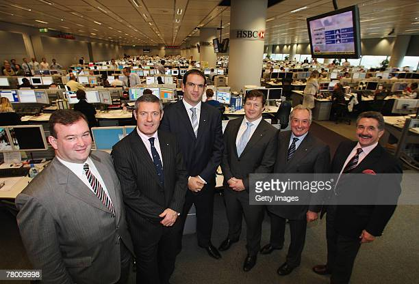 John Feehan CEO of the Lions and former Lions players Gavin Hastings Martin Johnson Paul Wallace Gareth Edwards and Gerald Davies pose whilst on a...