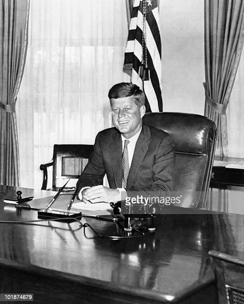 John Fitzgerald Kennedy pictured in the 1960s in the White House in Washington DC09 November 1960 he was the first Catholic and the youngest person...