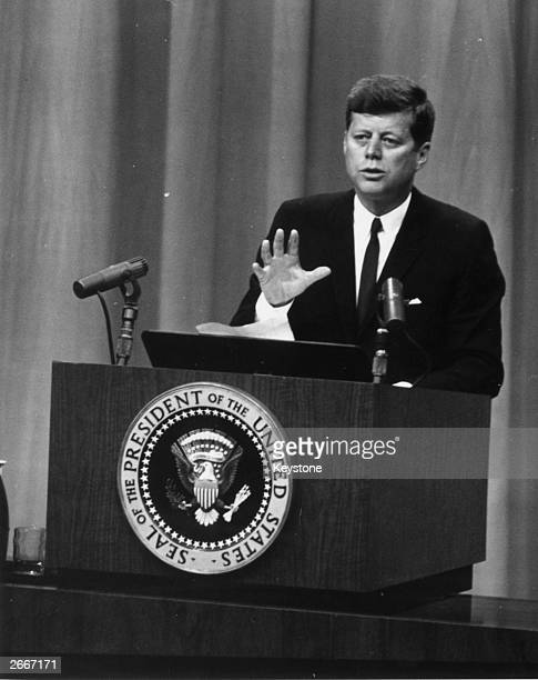 John Fitzgerald Kennedy the 35th President of America speaking at a press conference in Washington during the Berlin crisis