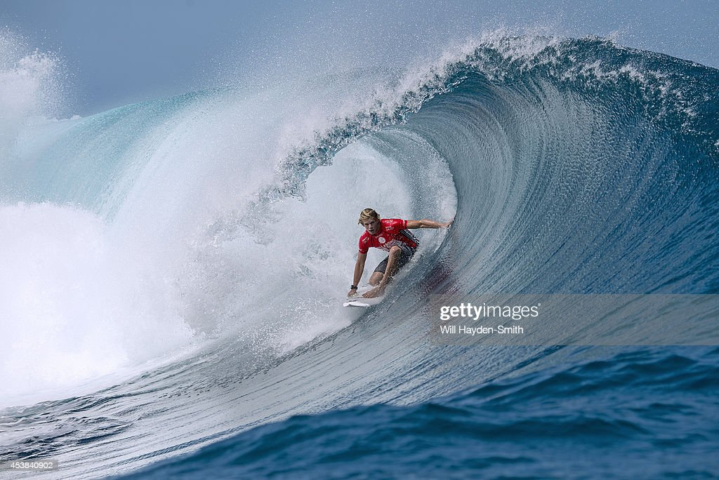 John Florence during the Billabong Pro on August 19, 2014 in Teahupo'o, French Polynesia.