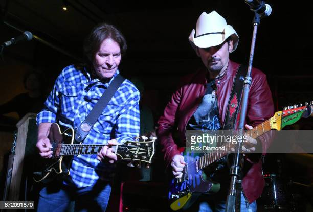 John Fogerty and Brad Paisley perform onstage at Tootsie's Orchid Lounge after the Brad Paisley LOVE AND WAR Album Launch Event on April 23 2017 in...