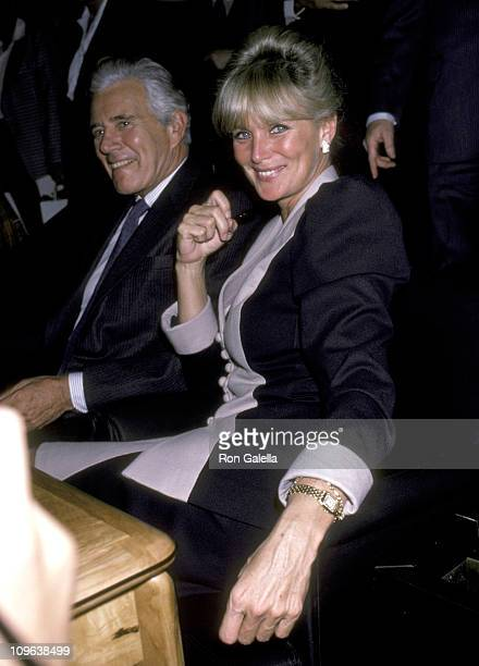 John Forsythe and Linda Evans during Autograph Session with John Forsythe and Linda Evans at Bloomingdale's in New York City New York United States