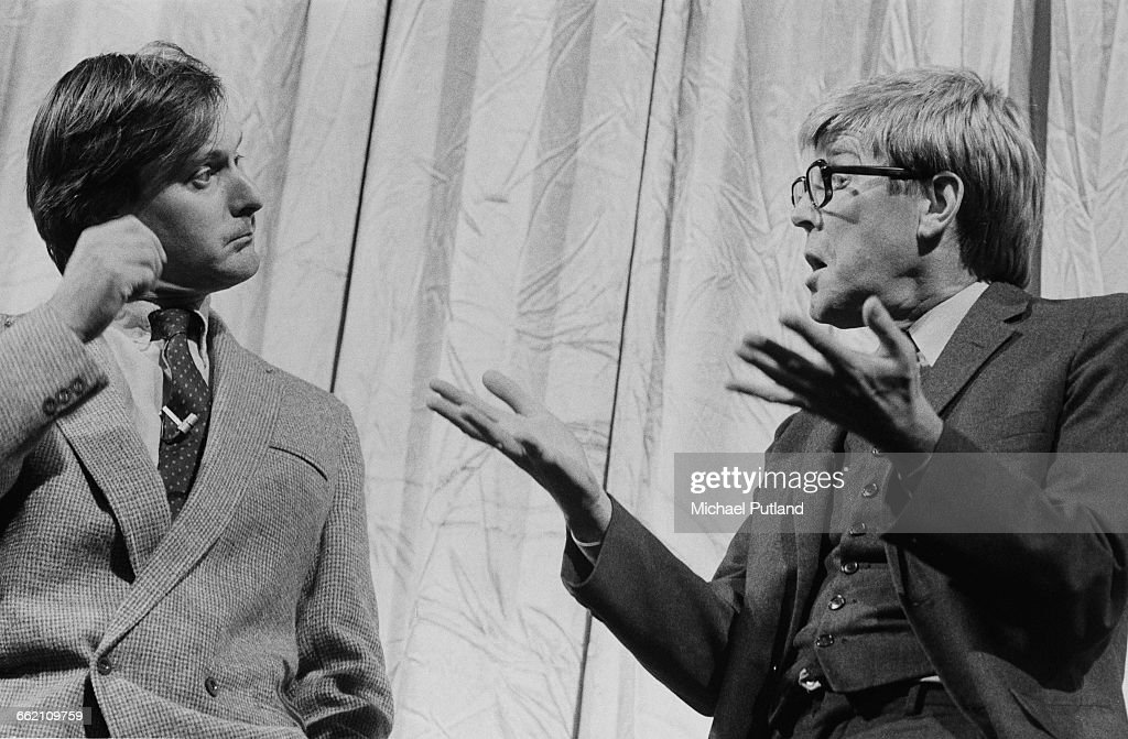 John Fortune and Alan Bennett performing the 'Men's Talk' sketch in 'The Secret Policeman's Other Ball' at the Drury Lane theatre London 9th...
