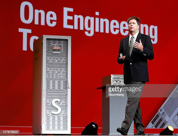 John Fowler executive vice president of systems for Oracle Corp speaks during the Oracle OpenWorld 2011 conference in San Francisco California US on...
