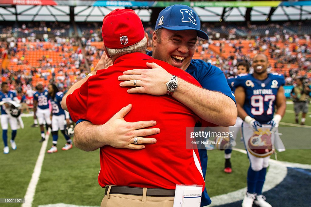 <a gi-track='captionPersonalityLinkClicked' href=/galleries/search?phrase=John+Fox+-+Coach&family=editorial&specificpeople=206657 ng-click='$event.stopPropagation()'>John Fox</a> head coach of the AFC team hugs Mike McCarthy head coach of the NFC Team during the 2013 AFC-NFC Pro Bowl on January 27 , 2013 at Aloha Stadium in Honolulu, Hawaii.