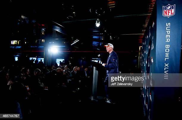 John Fox head coach of the Denver Broncos speaks to the media during an availability January 29 2014 in Jersey City New Jersey The Denver Broncos and...