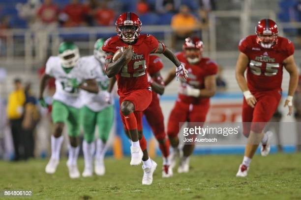 John Franklin III of the Florida Atlantic Owls runs for a touchdown against the North Texas Mean Green during fourth quarter action on October 21...