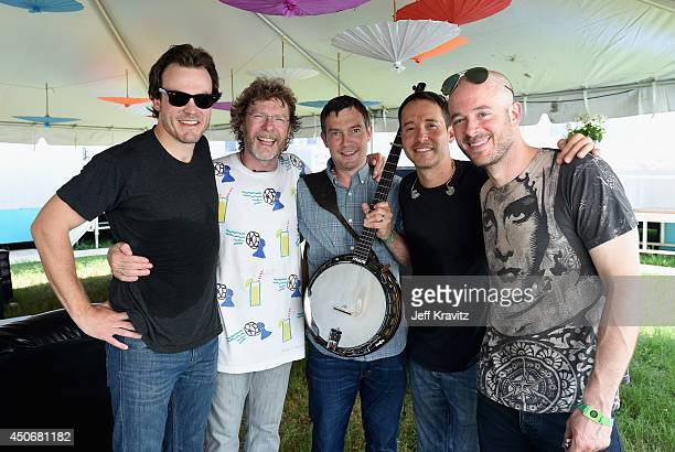 John Frazier Sam Bush Dave Johnston Adam Aijala and Ben Kaufmann of Yonder Mountain String Band backstage at What Stage during day 4 of the 2014...
