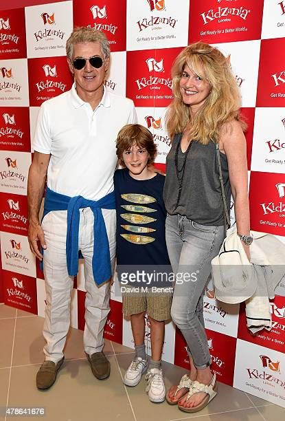 John Frieda son Jackson John and wife Frances Avery Agnelli attend a tea party to celebrate the launch of KidZania London at Westfield London on June...