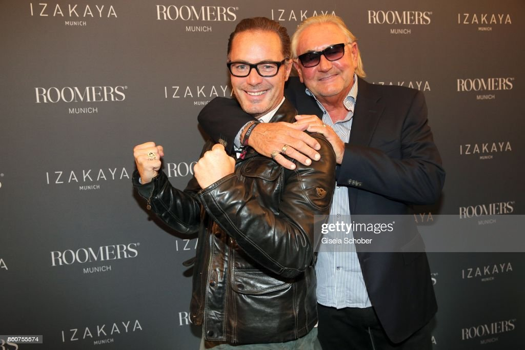 John Friedmann, and Andre de Plessel, father of John Friedmann during the grand opening of Roomers & IZAKAYA on October 12, 2017 in Munich, Germany.
