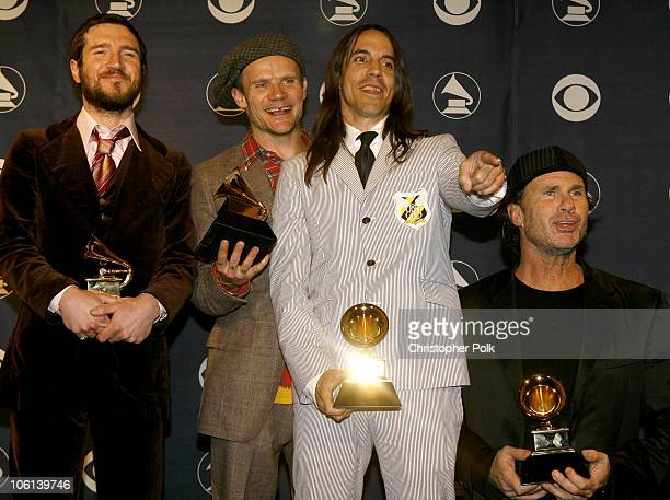 John Frusciante Flea Anthony Kiedis and Chad Smith of the Red Hot Chili Peppers winners Best Rock Album Best Rock Song for 'Dani California' and Best...