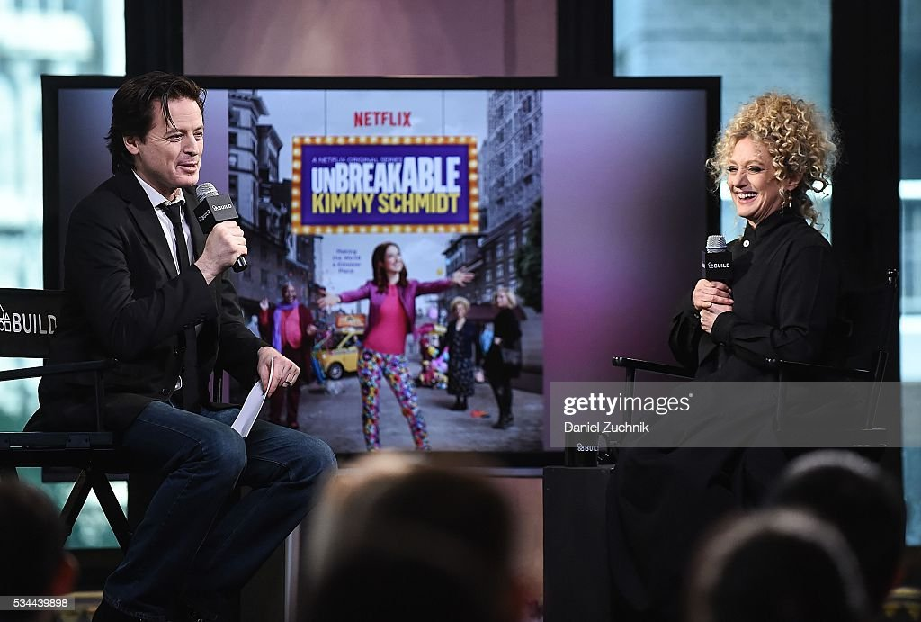 John Fugelsang and <a gi-track='captionPersonalityLinkClicked' href=/galleries/search?phrase=Carol+Kane&family=editorial&specificpeople=215175 ng-click='$event.stopPropagation()'>Carol Kane</a> attend AOl Build to discuss her role in Netflix's 'Unbreakable Kimmy Schmidt' at AOL Studios on May 26, 2016 in New York City.