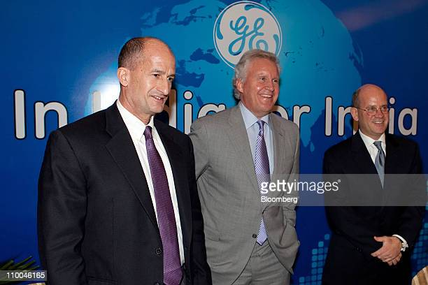 John G Rice vice chairman of General Electric Co left Jeffrey Immelt chairman and chief executive officer center and John Flannery president and...
